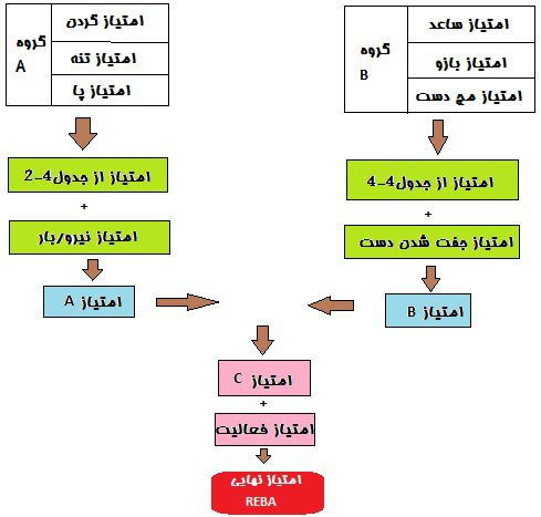 محاسبه امتیاز نهایی در روش REBA