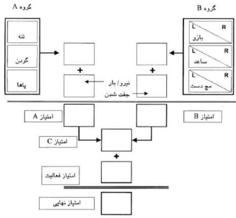 برگه ی راهنمای روند امتیازگذاری و محاسبه ی امتیاز نهایی در روش reba
