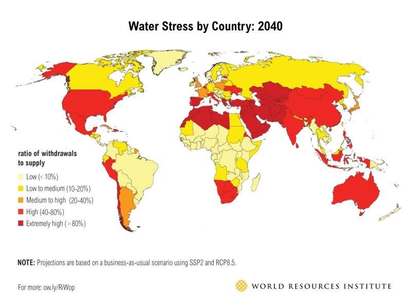 وضعیت استرس آبی کشورها در سال 2040